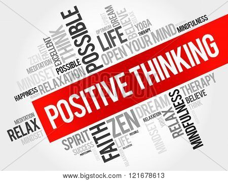 Positive thinking word cloud collage concept, presentation background