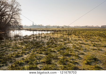 Landscape With A Natural Pond And Frosted Clumps Of Grass