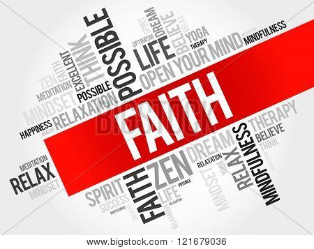 Faith word cloud concept, health presentation background