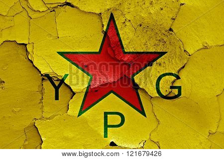 Flag Of Ypg Painted On Cracked Wall