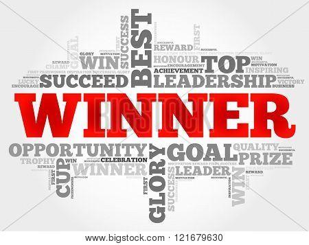 Winner word cloud business concept, presentation background