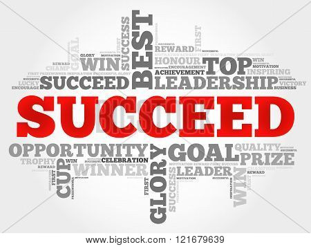 Succeed word cloud business concept, presentation background