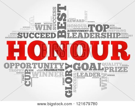 Honour word cloud collage concept, presentation background