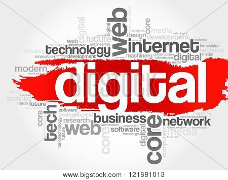 Digital word cloud business concept, presentation background