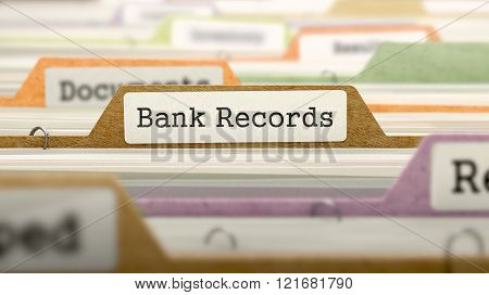 Bank Records Concept on Folder Register.