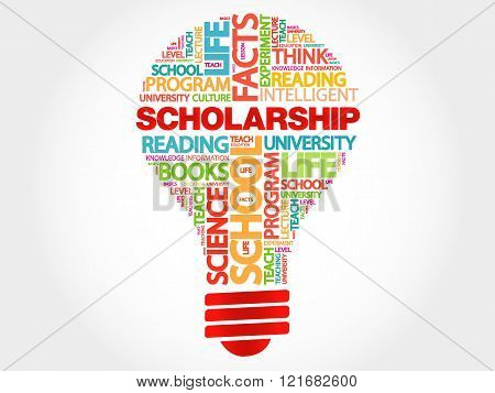 Scholarship bulb word cloud business concept, presentation background