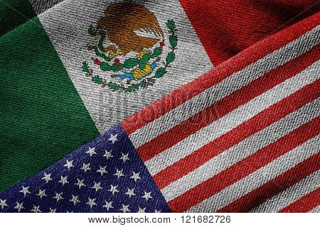 Flags Of Usa And Mexico On Grunge Texture