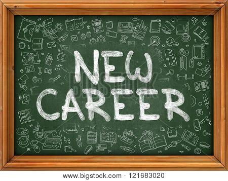 New Career - Hand Drawn on Green Chalkboard.