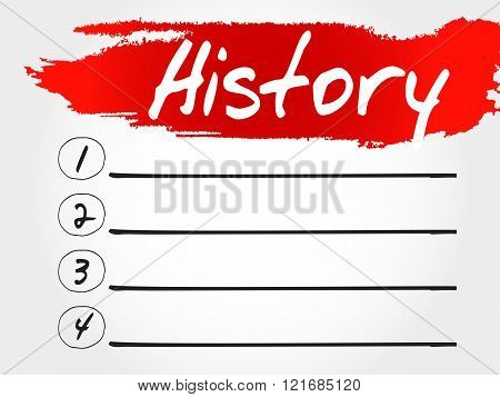 History blank list business concept, presentation background