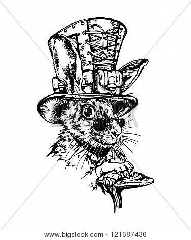 Hand drawn  black&white retro hare character.