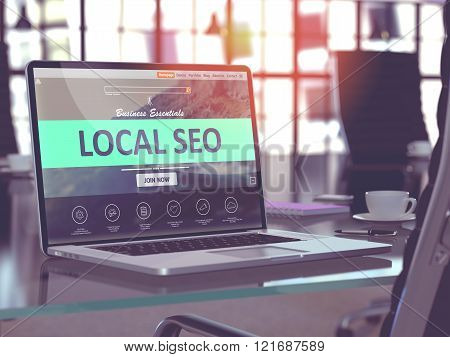 Laptop Screen with Local SEO Concept.