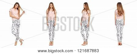 Fashion model wearing pants with emotions