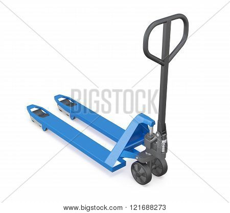 3d view manual forklift truck on white background