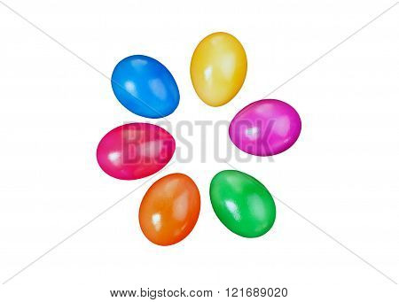 Colorful Easter Egg Top Corner Border Against A White Background