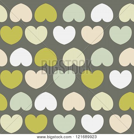 Beautiful Seamless Vector Pattern With Hearts. Can Be Used For Wallpaper, Pattern Fills, Web Page Ba