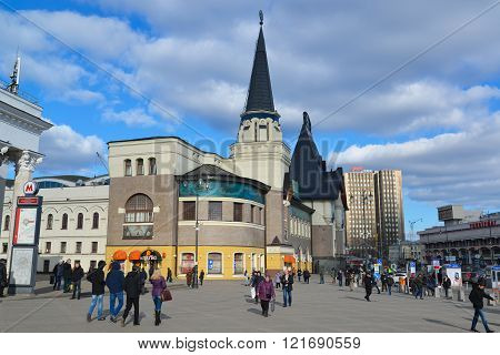 Moscow, Russia - March 14, 2016. Yaroslavsky railway station on a Komsomolskaya Square