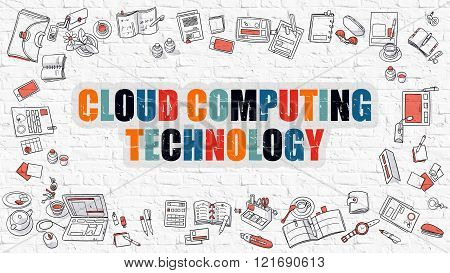 Cloud Computing Technology on White Brick Wall.