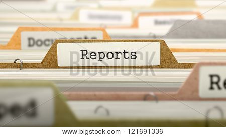Reports Concept on File Label.