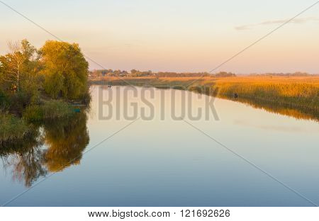 Evening on an autumnal Oril river in Ukraine