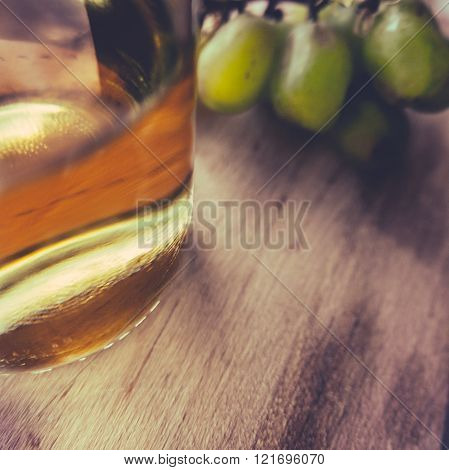 Bottle Of White Wine And Grapes