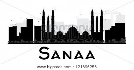 Sanaa City skyline black and white silhouette. Simple flat concept for tourism presentation, banner, placard or web site. Business travel concept. Cityscape with landmarks