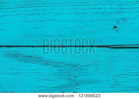 Natural Wooden Blue, Turquoise Boards, Wall Or Fence With Knots. Abstract Textured Background