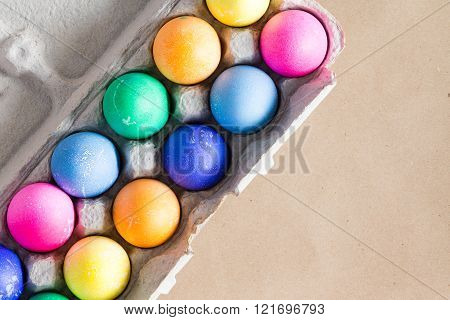 Vibrant Hand Dyed Colorful Easter Eggs In A Box