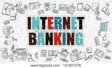 Internet Banking in Multicolor. Doodle Design.