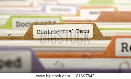 Confidential Data Concept on File Label.