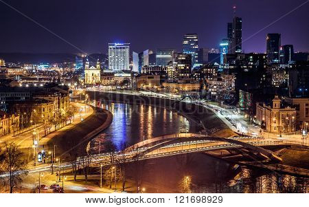 View the business center of Vilnius and Mindaugas Bridge at night from the tower Gedemin at the 27 of february ** Note: Visible grain at 100%, best at smaller sizes