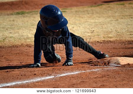Baseball Player Safe On Base