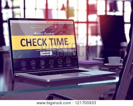Check Time on Laptop in Modern Workplace Background.
