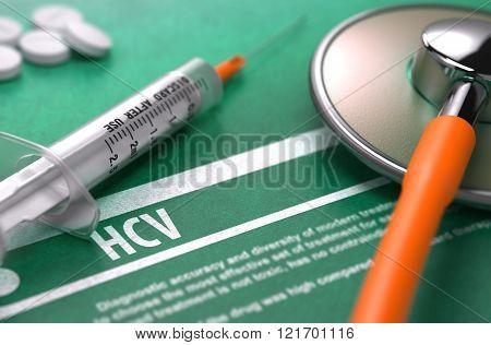 HCV - Printed Diagnosis. Medical Concept.