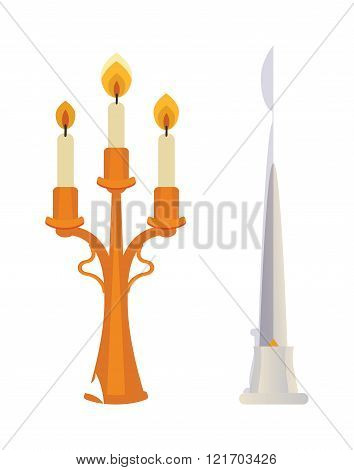 Retro candlesticks with candles flat vector isolated on white.