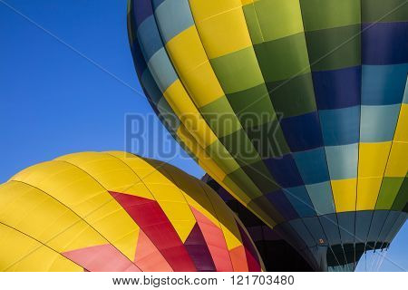 Up close abstract of hot air balloons
