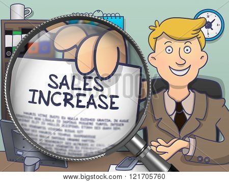 Sales Increase through Magnifier. Doodle Style.
