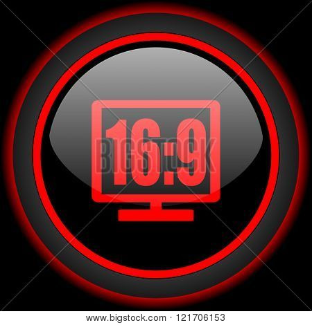 16 9 display black and red glossy internet icon on black background