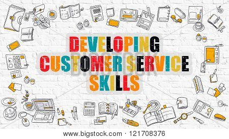 Developing Customer Service Skills Concept. Doodle Design.
