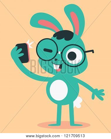 Nerd Bunny Taking A Selfie