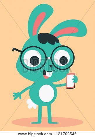 Nerd Bunny Wearing Glasses Talking On The Phone