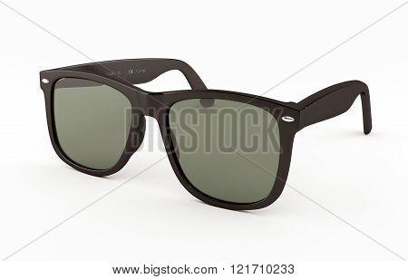 Glasses. Glasses over white. Black-framed glasses close-up.