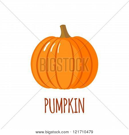 Pumpkin Icon In Flat Style On White Background