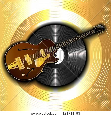 Jazz Guitar And A Vinyl Disc On A Background Of Gold