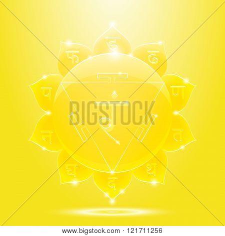 Yellow glossy manipura chakra banner
