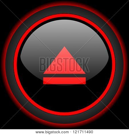eject black and red glossy internet icon on black background