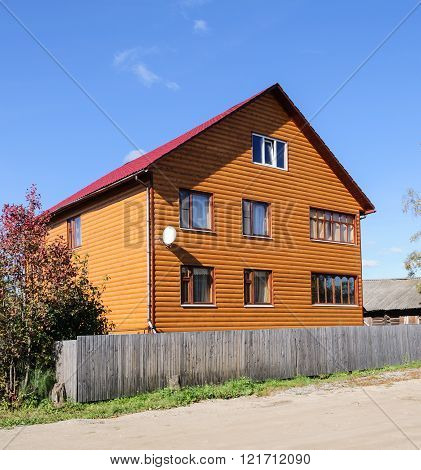 New orange two-storey wooden building