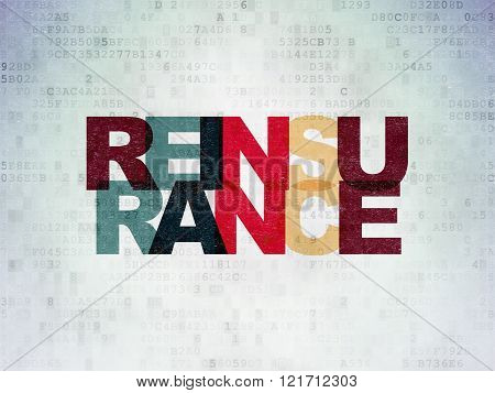 Insurance concept: Reinsurance on Digital Paper background