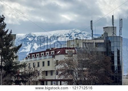 Vitosha mountain in winter and part of residential quarter