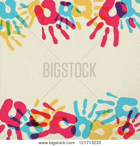 Hand Print Art Of Diversity People Community