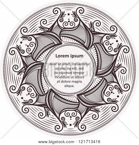 Unusual Round Lace Frame, Decorative Element With Empty Place For Your Text. Vector Illustration.